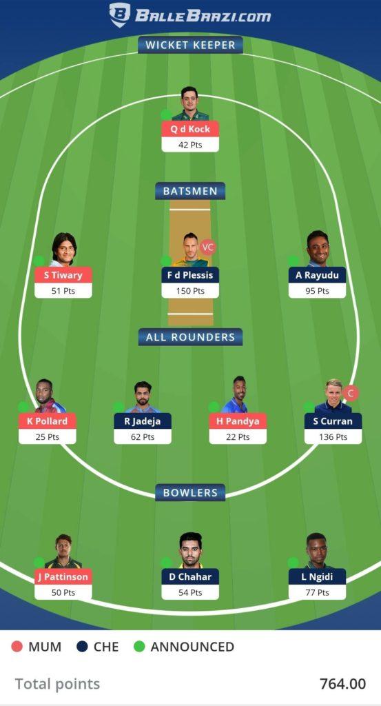 Ballebaazi Classic Fantasy Cricket Team Screenshot