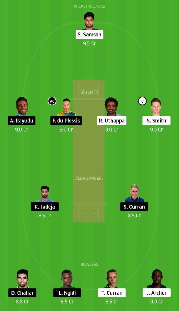 RR vs CSK Dream11 Team 4th Match Dream11 IPL 2020