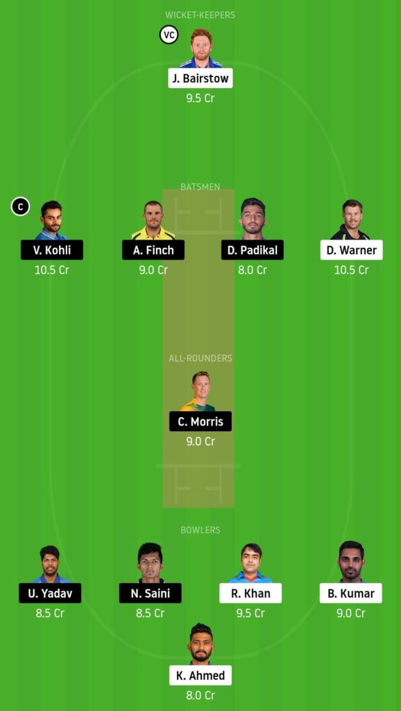 SRH vs BLR Dream11 Team