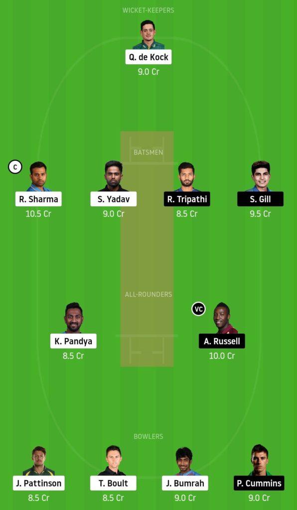 MI vs KOL Dream11 Team 32nd Match IPL 2020