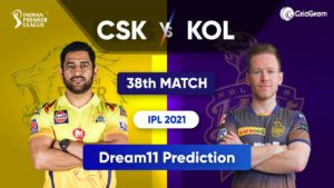 CSK vs KOL Dream11 Team Prediction Playing 11 IPL 2021
